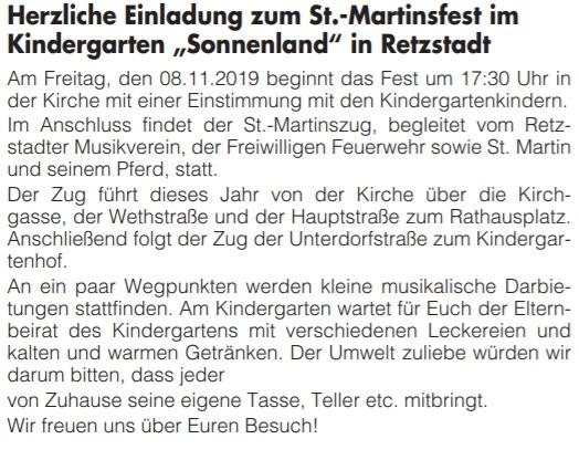 Mitteilungsblatt vom 25.10.2019